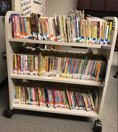 books on a book cart