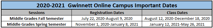 2020-2021 MS GOC Important Dates