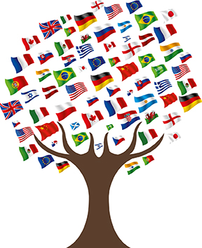 tree with flags from other countries