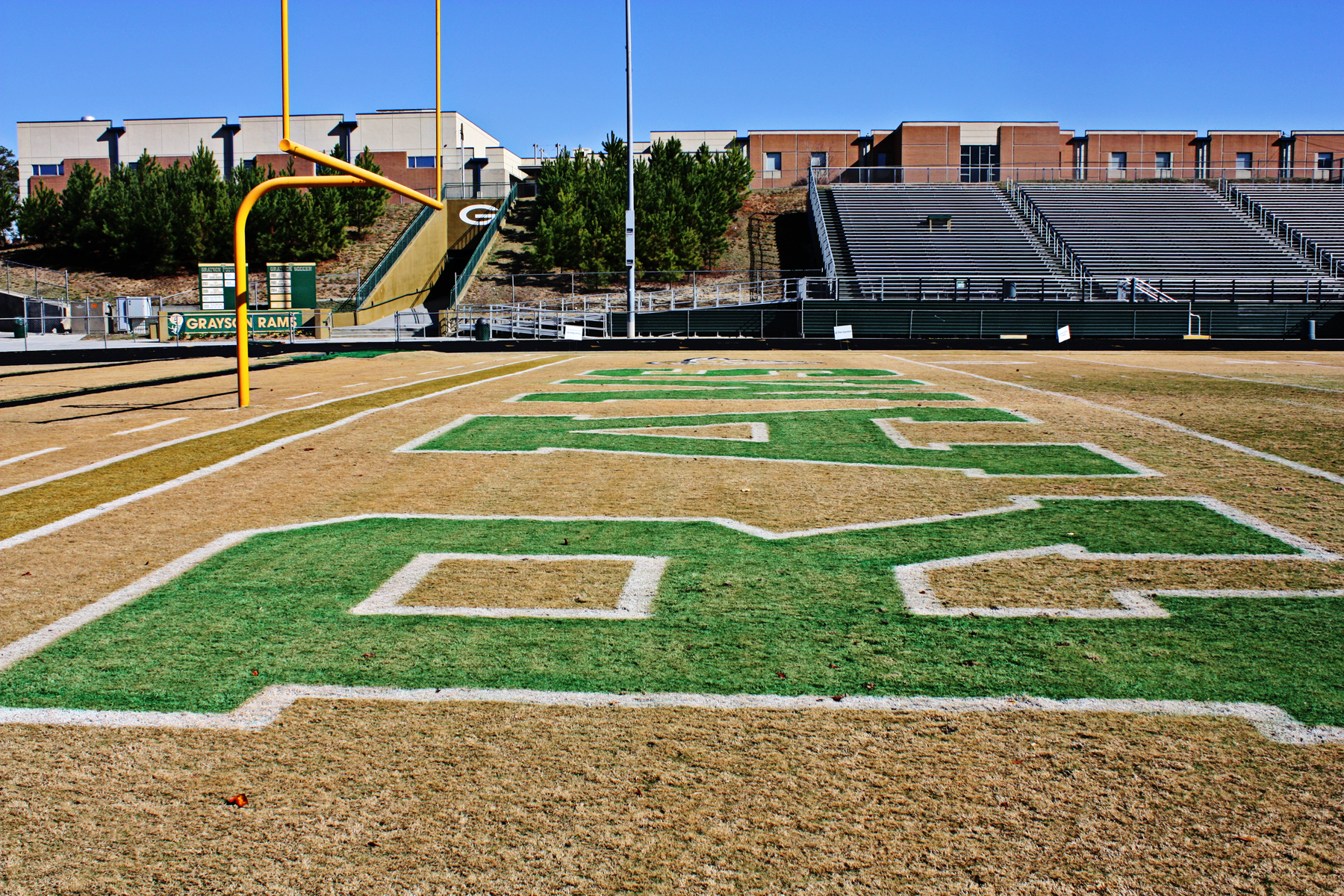 "Football field with ""RAMS"" painted on it."