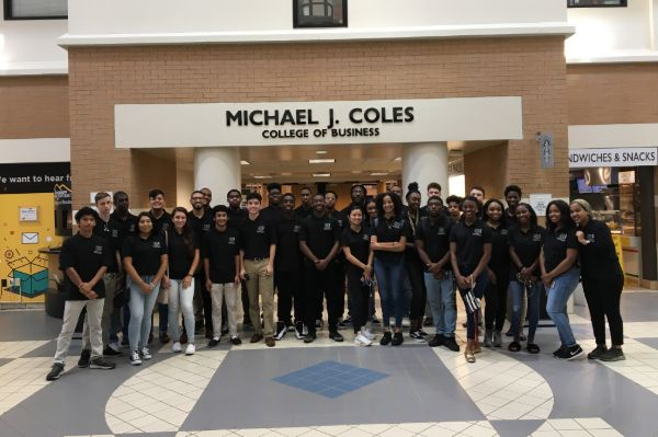 Entrepreneurship students on a field trip to the Michael J. Coles College of Business