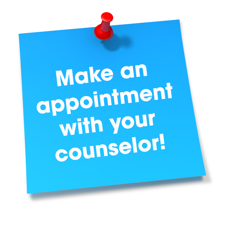 Sticky note that says make an appointment with your counselor