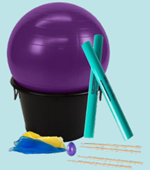 exercise ball and percussion sticks