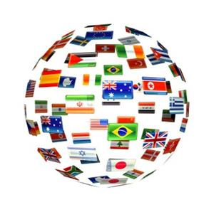A sphere of different countries flags