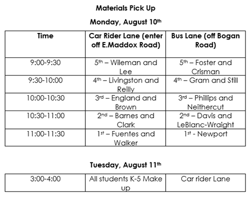 Material pick up schedule