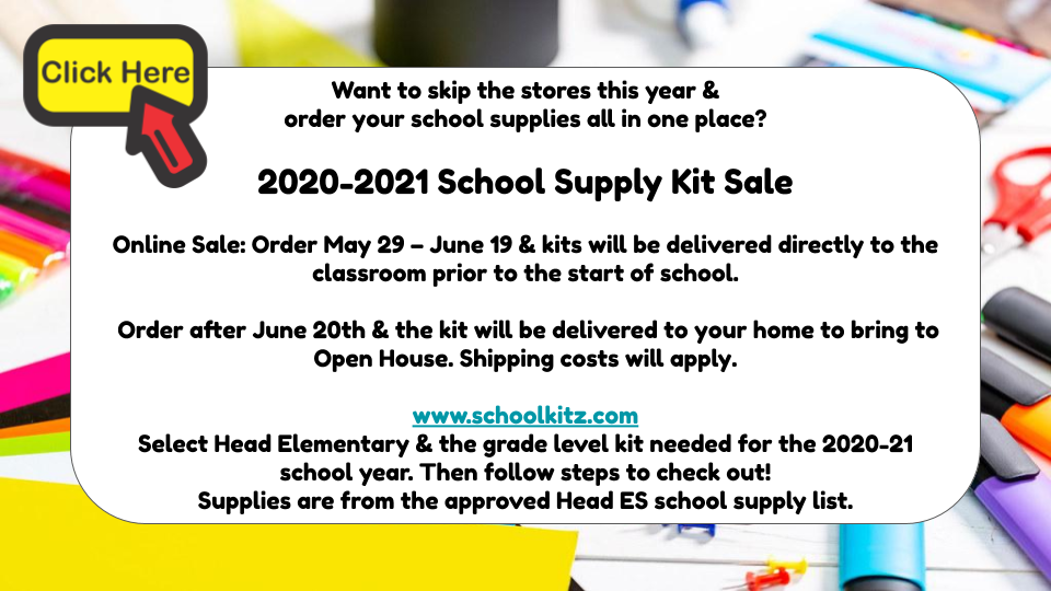 2020-2021 School Supply Kit Sale
