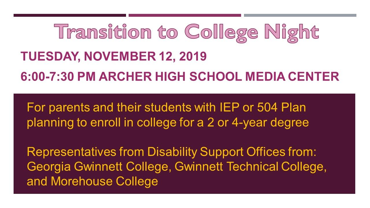 Transition to College Night