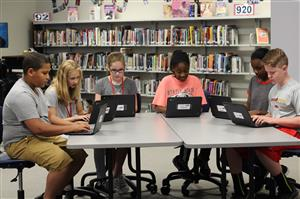 Photo of students working on chromebooks purchased from BSF grant.